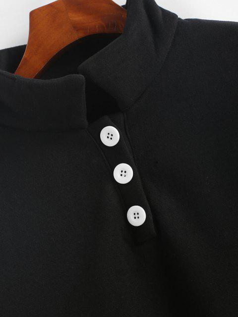 Sudadera con Botón de Lana Cobertor - Negro S Mobile
