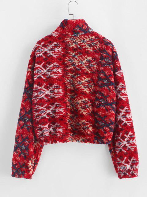 sale ZAFUL Snowflake Pattern Half Zip Fluffy Sweatshirt - RED M Mobile