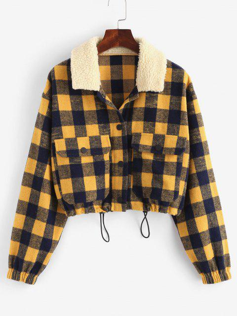 fancy ZAFUL Plaid Teddy Collar Toggle Drawstring Pocket Jacket - MULTI-A S Mobile