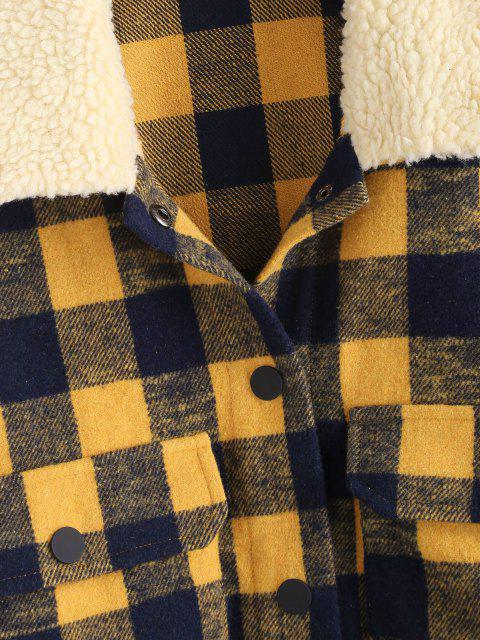 unique ZAFUL Plaid Teddy Collar Toggle Drawstring Pocket Jacket - MULTI-A L Mobile