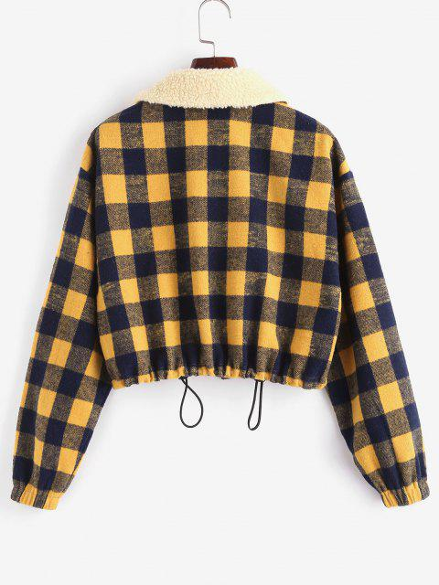 ZAFUL Plaid Teddy Collar Toggle Drawstring Pocket Jacket - متعددة-A M Mobile