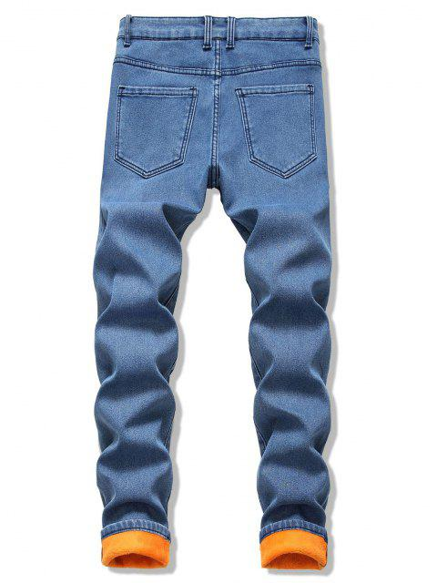 shops Long Straight Fleece Jeans - SILK BLUE 34 Mobile