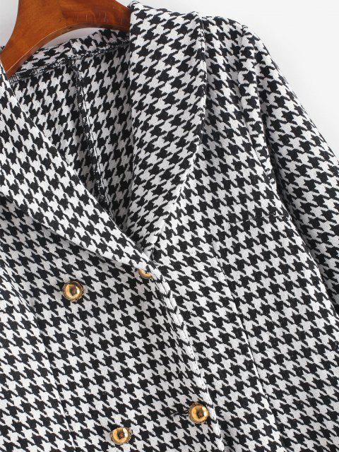 women Double Breasted Houndstooth Tweed Coat - BLACK L Mobile