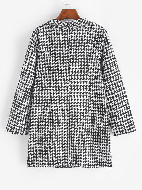fancy Double Breasted Houndstooth Tweed Coat - BLACK M Mobile