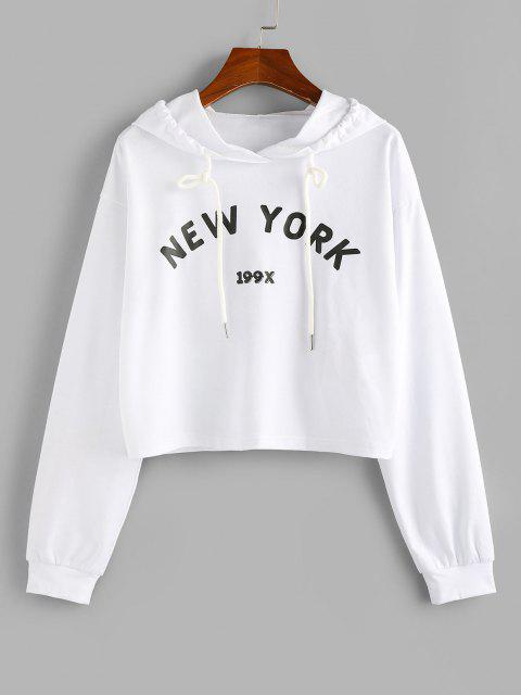 ZAFUL Letter Graphic Drawstring Cropped Hoodie - أبيض XL Mobile