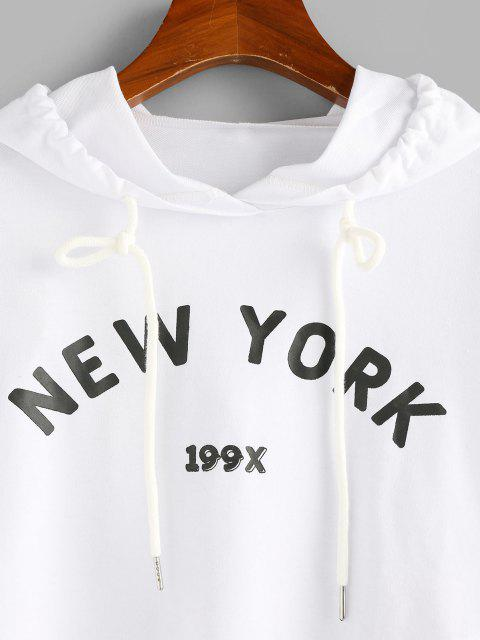 outfits ZAFUL Letter Graphic Drawstring Cropped Hoodie - WHITE M Mobile