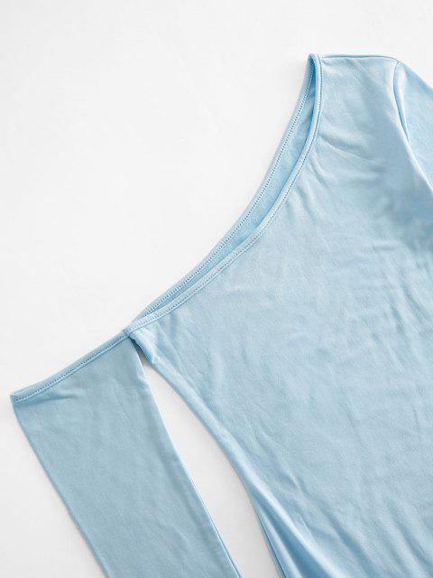 chic Skew Collar Fleece Lined Bodycon Dress - LIGHT BLUE M Mobile