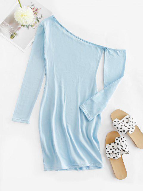 Vestito Aderente in Pile con Scollo Asimmetrico - Azzurro L Mobile