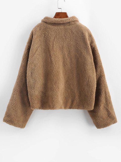 Faux Shearling Vinyl Flap Pocket Teddy Coat - قهوة S Mobile