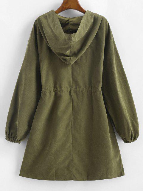 Hooded Drawstring Waist Pocket Zipper Coat - ديب غرين L Mobile
