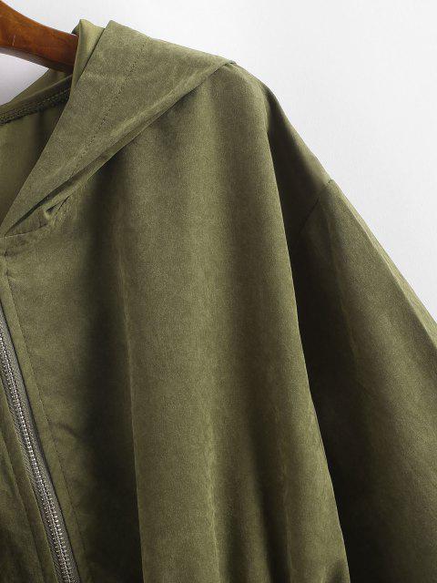 Abrigo Capucha y Cremallera - Verde Oscuro L Mobile