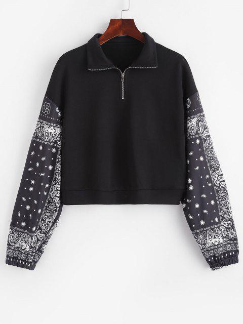 unique ZAFUL Paisley French Terry Quarter Zip Sweatshirt - BLACK M Mobile