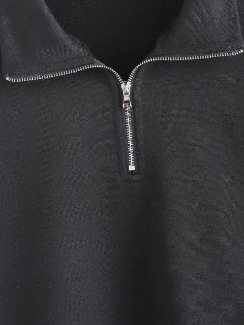 womens ZAFUL Paisley French Terry Quarter Zip Sweatshirt - BLACK L Mobile