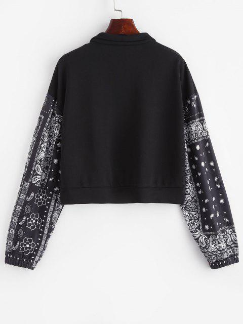 buy ZAFUL Paisley French Terry Quarter Zip Sweatshirt - BLACK S Mobile