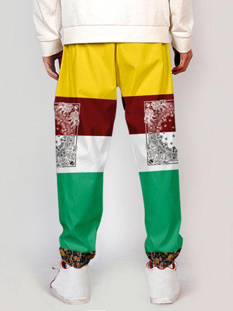 new Bandana Plant Tribal Print Colorblock Pants - MULTI-A XS Mobile