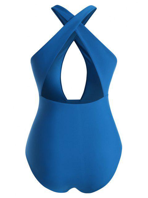 ZAFUL Maillot de Bain Croisé de Grande Taille Une-Pièce - Bleu XL Mobile