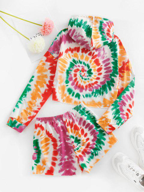 fancy Tie Dye Print Cropped Hoodie and Mini Shorts Set - RED M Mobile