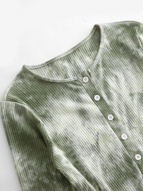 hot Half Button Ribbed Tie Dye Bodysuit - LIGHT GREEN M Mobile