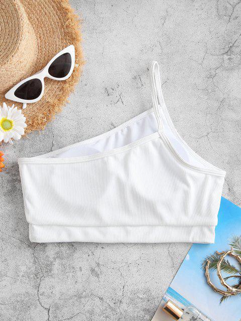 ZAFUL Ribbed One Shoulder Bikini Top - أبيض S Mobile