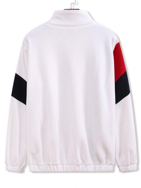 ladies Zip Up Contrast Fleece Jacket - WHITE M Mobile