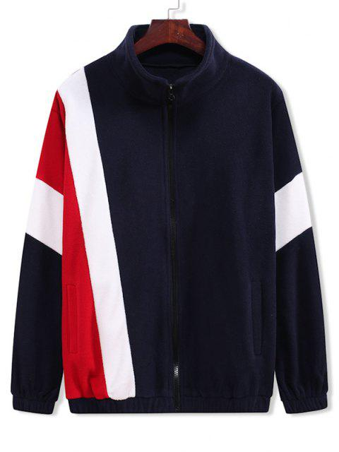 Zip Up Contrast Fleece Jacket - طالبا الأزرق L Mobile