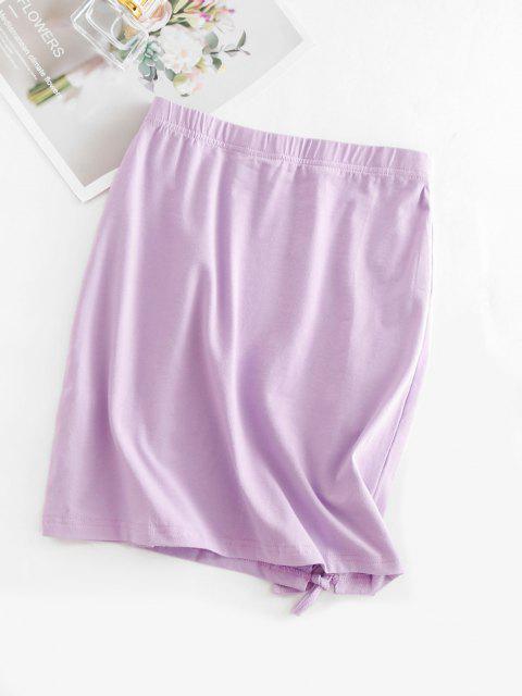 best Lace-up Sheath Mini Skirt - LIGHT PURPLE L Mobile