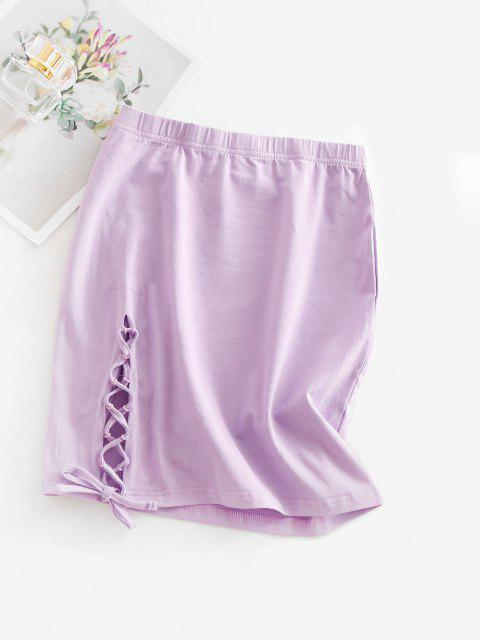fancy Lace-up Sheath Mini Skirt - LIGHT PURPLE S Mobile