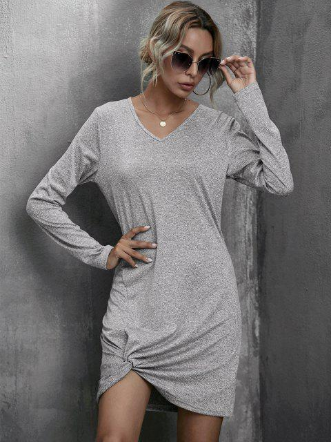 trendy Heathered Twist Detail Tee Dress - GRAY L Mobile