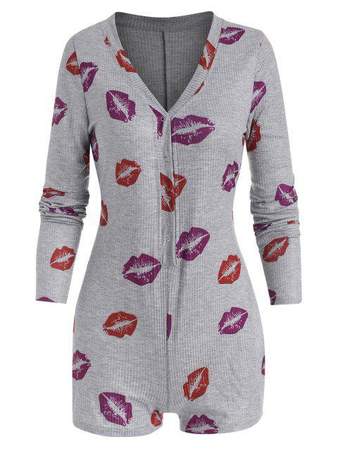 buy Lip Print Snap Button V Neck Skinny Romper - GRAY M Mobile