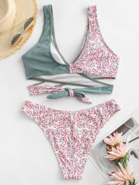 unique ZAFUL Ribbed Butterfly Print Wrap Bikini Swimwear - LIGHT GREEN S Mobile