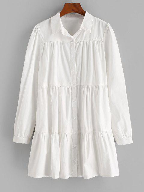 outfit ZAFUL Long Sleeve Casual Shirt Dress - WHITE S Mobile
