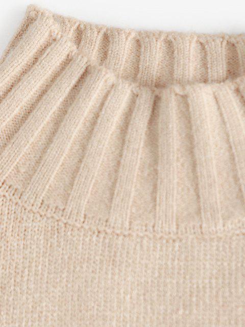 Stehkragen Slogan Grafik Hängender Schulter Pullover - Licht Kaffee Eine Größe Mobile