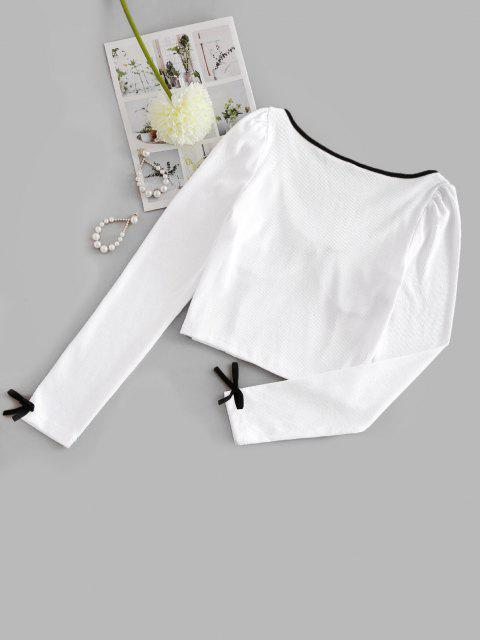 Top Barriga de Fora de Crochê Frizado Cortado - Branco L Mobile