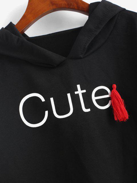 women's Raw Cut Cute Graphic Tassel Hoodie - BLACK M Mobile
