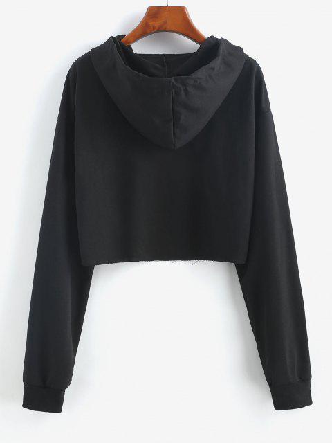 Raw Cut Cute Graphic Tassel Hoodie - أسود M Mobile