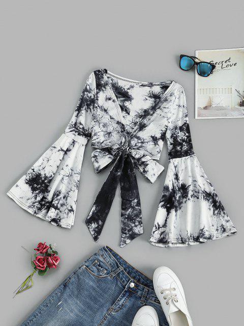 ladies Tie Front Flare Sleeve Tie Dye Cropped Top - BLACK L Mobile