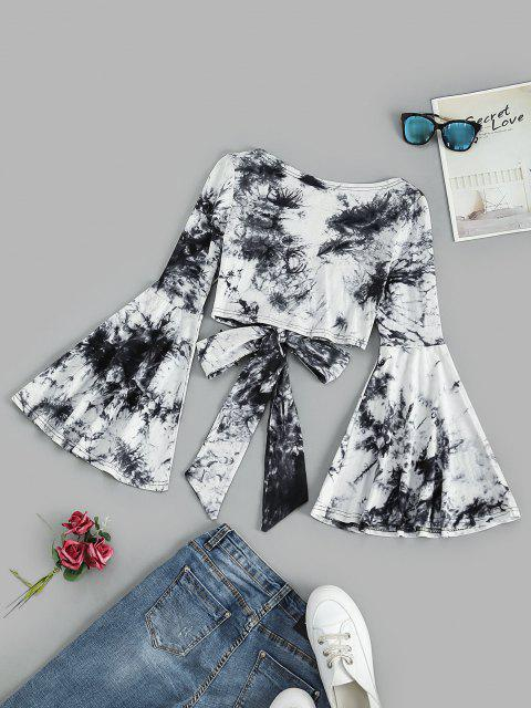 hot Tie Front Flare Sleeve Tie Dye Cropped Top - BLACK XL Mobile