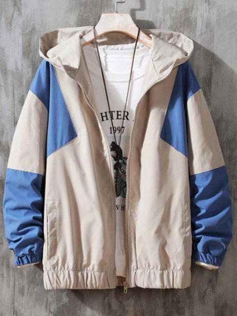 latest Hooded Contrast Zip Up Jacket - BEIGE L Mobile