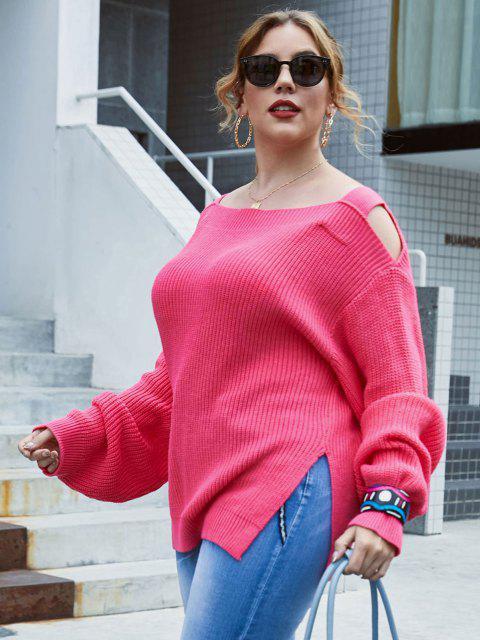 shop Plus Size Exposed Shoulder Slit Lantern Sleeve Sweater - LIGHT PINK 5X Mobile