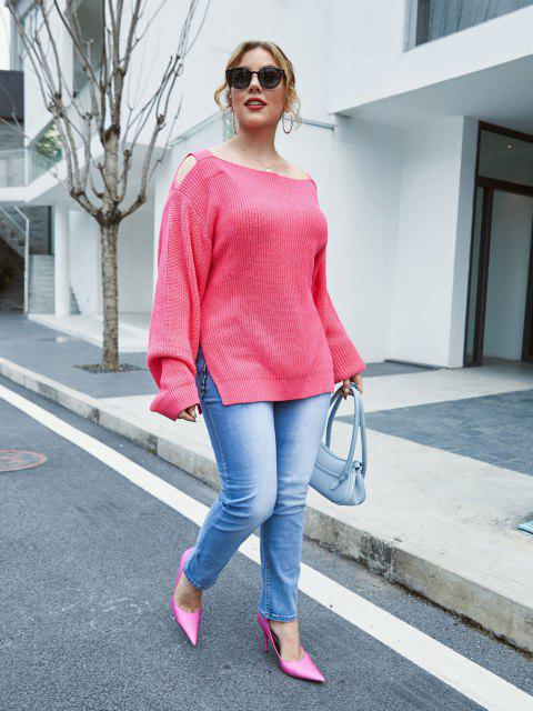 Plus Size Exposed Shoulder Slit Lantern Sleeve Sweater - Hell-Pink 5X Mobile