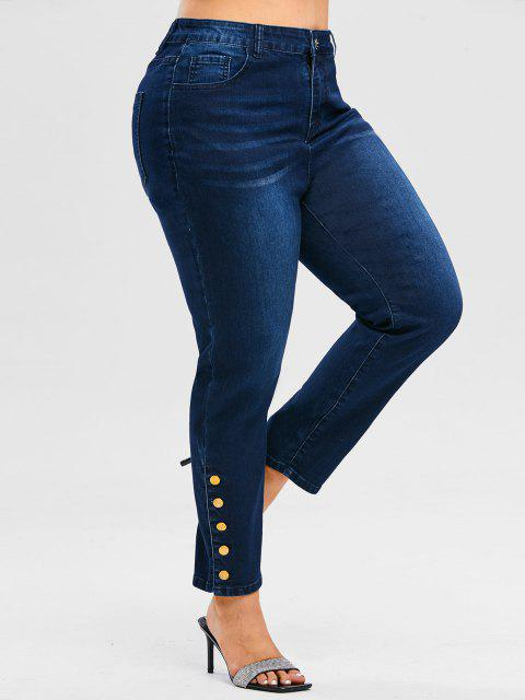 ladies Plus Size Metal Buttons High Rise Jeans - DEEP BLUE 3X Mobile