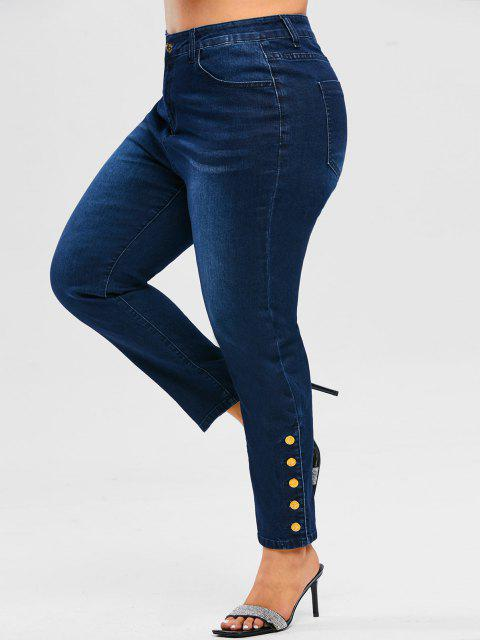Plus Size Metal Buttons High Rise Jeans - ازرق غامق 5X Mobile