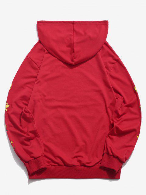 womens Kangaroo Pocket Flower Print Graphic Hoodie - RED S Mobile