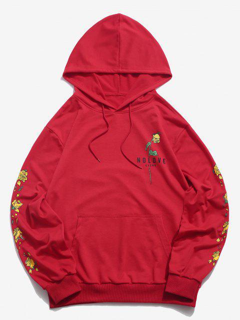 Känguru Tasche Blumendruck Grafik Hoodie - Rot M Mobile