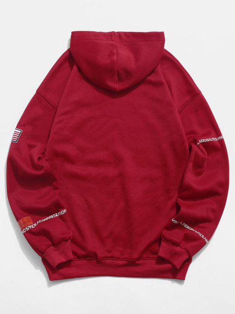 fancy ZAFUL American Flag Patched Drawstring Pocket Hoodie - RED 3XL Mobile
