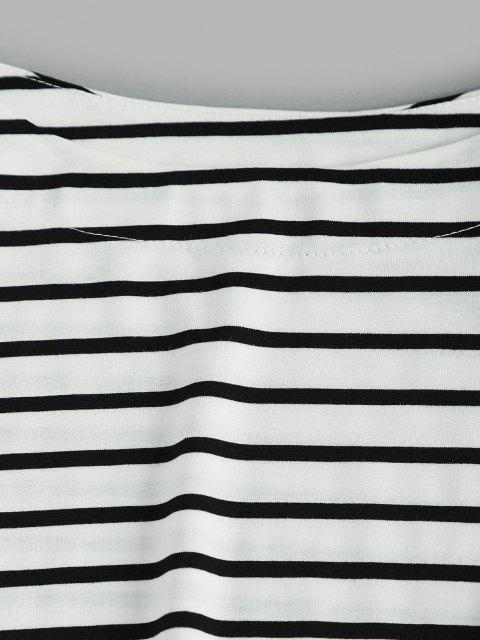 Taschen Kontrast Streifen Zweiteiler Pyjama Set - Weiß L Mobile