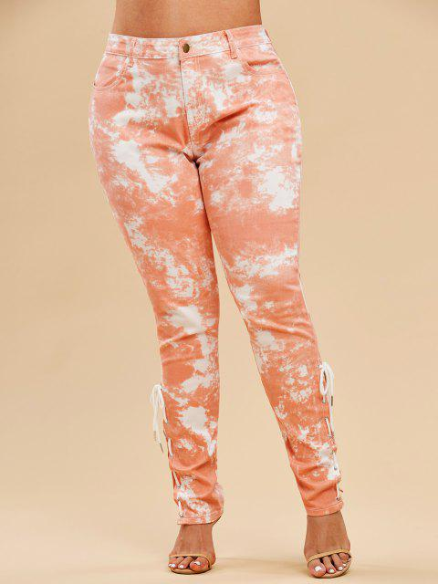 fancy Plus Size Tie Dye Lace-up Pocket Jeans - LIGHT ORANGE 5X Mobile