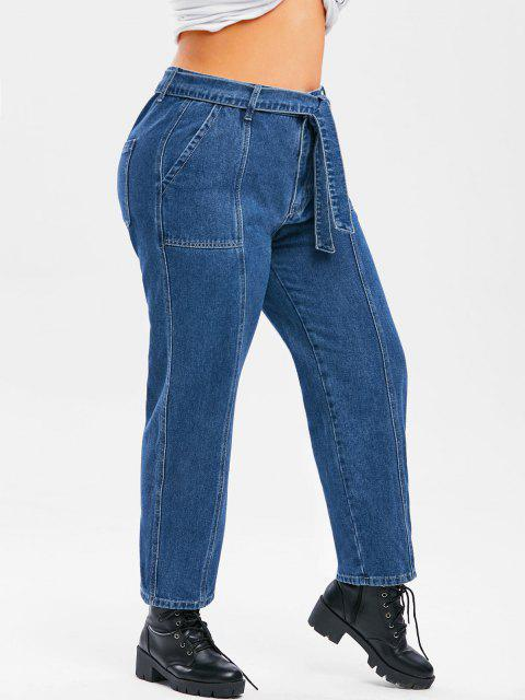Plus Size Belted Topstitching Wide Leg Jeans - ازرق غامق 1X Mobile