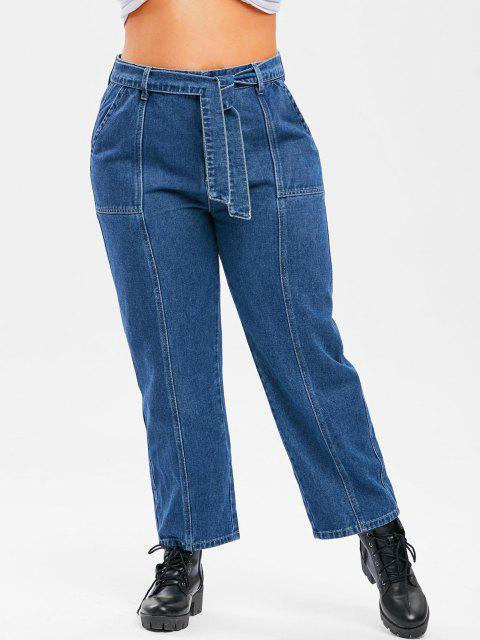fashion Plus Size Belted Topstitching Wide Leg Jeans - DEEP BLUE 5X Mobile