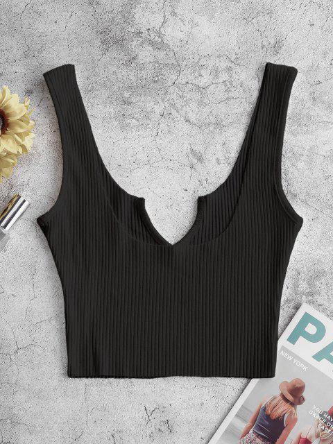 womens Ribbed V-notch Tank Top - BLACK M Mobile